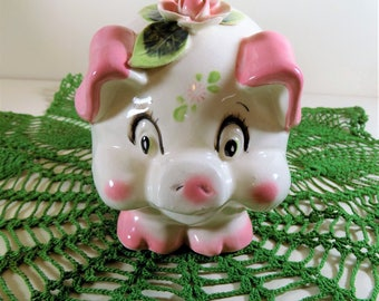 Super Cute Westpac, Japan, Ceramic 1950's Pink Piggy Bank