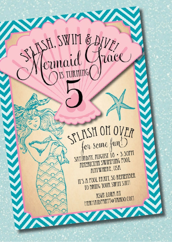 Diy printable vintage mermaid birthday party invitation filmwisefo Gallery