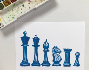 Chess pieces watercolor art print