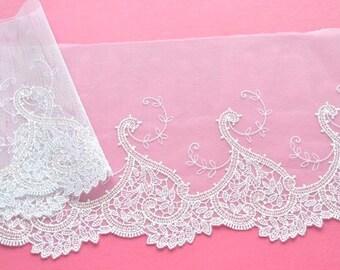 White Lace Trim, Leaf Hearts Design Lace,  Wedding Lace, Bridal Veil, Wedding Gown, Lace Decor, Historical Costume
