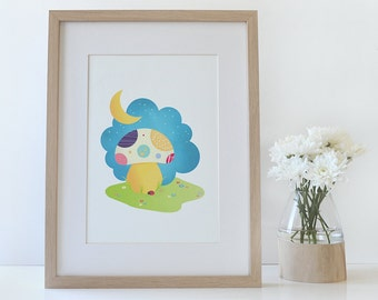 Children's Art Print • My little Sunshine by Celebratink • Wall Decor • Nursery Art  • Mushroom • Colourful • A4 (8.2in x 11.6in)