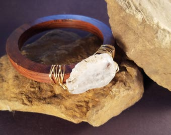 Wood Bangle Bracelet with Gray Agate Stone