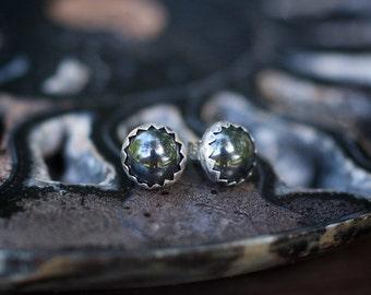 Hematite Earrings, Hematite Studs, Gemstone Earring, Sterling Studs, Rustic Earrings, Black Earring