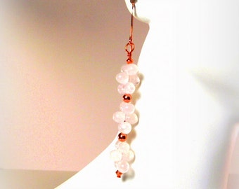Frosted Pink Cluster Berry Earrings Featuring Rose Quartz and Copper