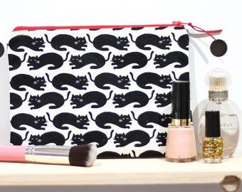 Black Cat pouch/ clutch / pencil case with zip closure