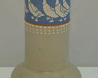 Lovatts LANGLEY MILL Rare Goose Pattern C1900 Stoneware Arts & Crafts VASE