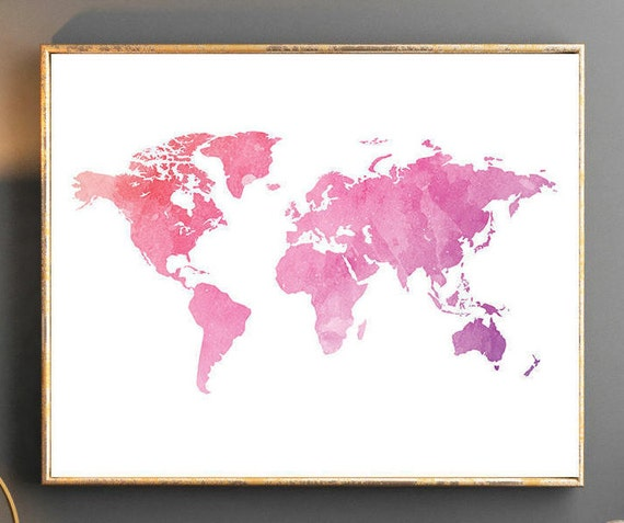 Watercolor World Map World Map Wall Art World Map Poster Pink - Pink world map poster