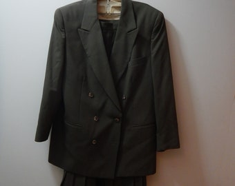 Vintage Mark Shale Forest Green Suit  Double Breasted Suit Jacket  and Pleated Skirt  Size 14  Business Suit Office Suit Professional Suit