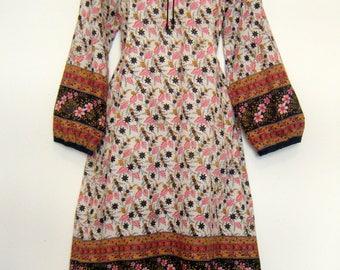 vintage 1960s Indian cotton hippie festival dress, metallic gold hand block printed yoke floral dress, size m