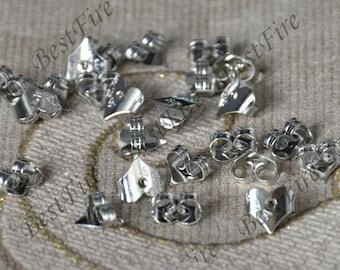 50pcs of Rhodium Plated Brass Earring STUDS BACK STOPPERS,Earring back stopper,Earring Findings