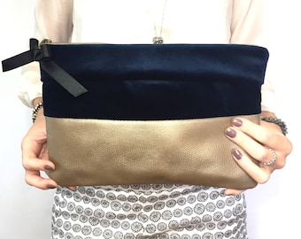 Leather clutch, leather and fabric clutch leather purse, evening bag, clutch,small bag, small purse, night out