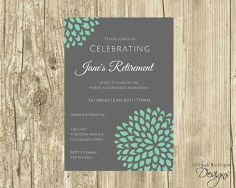 Printable Retirement Invitation | Charcoal Gray & Robin's Egg Blue Accent Flower or Choose Colors