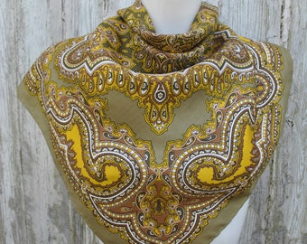 Vintage khaki green brown shades paisley silk scarf from 70's