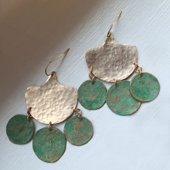 Ocean Traveler Chandelier Earrings with  bronze coins