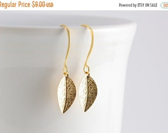 25%OFFSALE Tiny Leaf Earrings, Gold Leaf Earrings, Nature Inspired Jewelry, Under 10