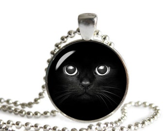 Black Cat Face Necklace with Pendant Black Cat Jewelry Cat Lovers