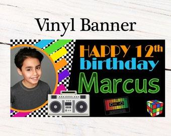 80's Birthday Photo Banner  ~ Boom Box Personalized Party Banners -Birthday Banner, Retro Birthday Party Banner, 90's Birthday Banner