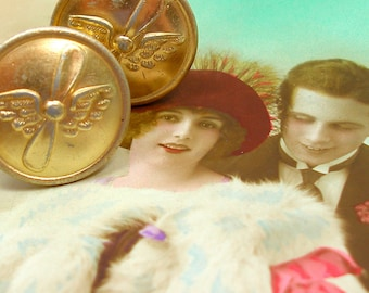 BUTTON cuff links, USSR uniform with wings & propeller on gold. Antique button jewelry, jewellery.
