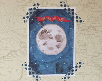 A5 Thinking of You Moon Giclee Print