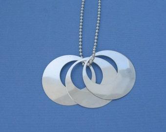 Handmade Modern Sterling Silver Pendant Classic Elegant Simplicity . . . Contemporary Crescent Circle Dangle Design LARGE