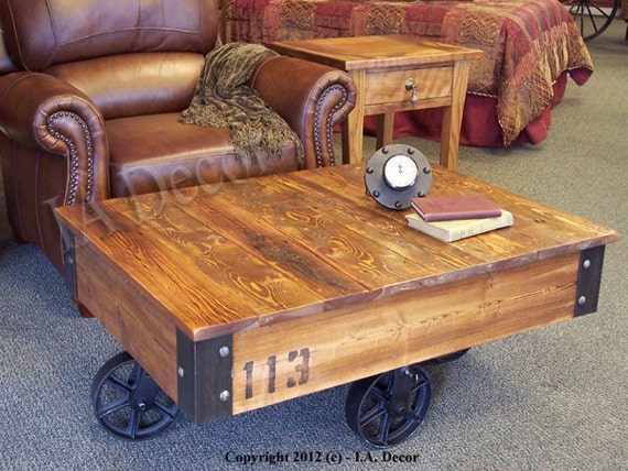 Factory Cart Coffee Table Wooden Coffee Table Rustic