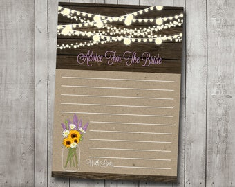 Bridal Shower Advice For The Bride Sunflower Lavender Daisy Purple Mason Jar Rustic Wood Fairy String Lights Printable Instant Download File