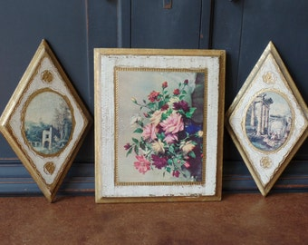 Vintage Florentine Gold Leaf Wall Hanging Collage, Set of 3, Diamond, Square, Venetian Landscape, Flowers, Made in Italy