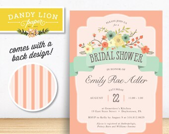 Vintage Coral Mint Garden Flowers Stripes Bridal Shower Digital Invitation - DIY Printable
