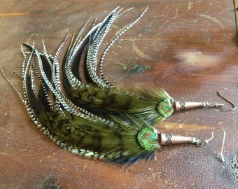 Grizzly Feather Earrings Long Green Grizzly Hippie Bohemian Feather Earings, Feather Jewelry Hippie Earrings