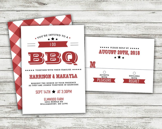 I Do BBQ Wedding Invitations Set Printed, Rustic Wedding, Burlap, Kraft, Country, Outside, Southern Wedding Invitations, Barn, Cookout, Wood