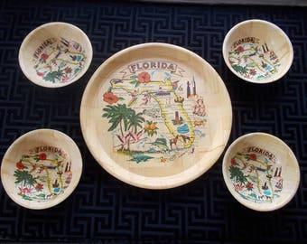 Florida Bamboo Tray and 4 Bowls Set   Vintage Souvenirs Retro 1960s