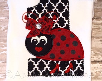 Personalized Ladybug with High Heels Birthday Applique Shirt or Onesie