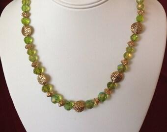 Green Swarovski crystals w gold Necklace