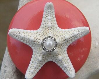Coral Starfish Knobs with Swarovski Crystal and pearl rhinestone