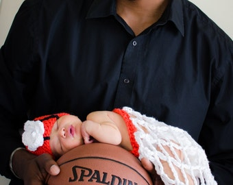 Crochet Basketball Hat & Net Baby Photo Prop