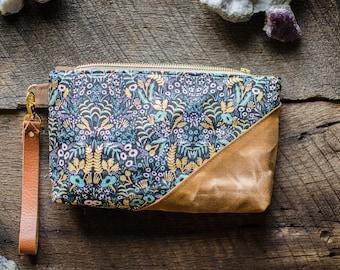 Rifle Paper Co Bag Menagerie / floral bag / Metallic Waxed Cotton Wristlet / Pouch / Pencil Case / Clutch / Bag / Purse / Bridesmaid Gifts