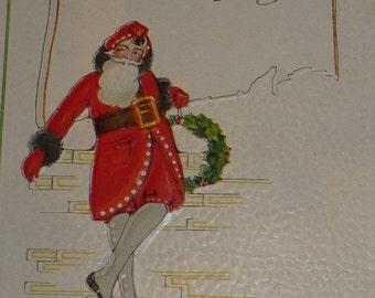 Santa Claus With Wreath Vintage 1920s Christmas  Postcard