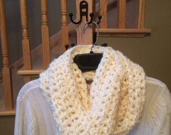 Infinity Scarf- made with cream colored soft bulky yarn