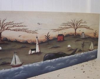 "Whales' Regatta, an 8""x30"" New England style nautical, pastoral, ocean landscape print by Donna Atkins. Primitive Folk Art."