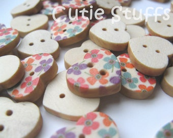 18mm Wood Buttons - Heart Shape Flowers - Set of 6