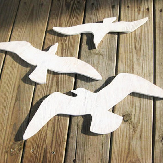 Seagulls beach decor see birds wooden seagull wall decor