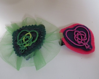 Celtic Heart barrettes hand tatted pair