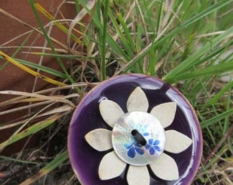 Purple button flower coconut ceramic brooch