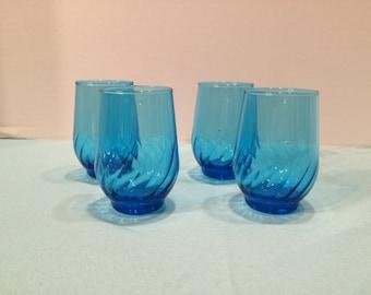 Vintage Set Of 4 Blue Glasses