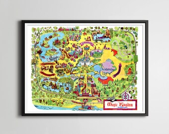 "Vintage 1973 DISNEY WORLD Park Map POSTER! (24"" x 36"" or smaller) - DisneyLand - Magic Kingdom - Mickey Mouse - Wall Hanging - Disney Gifts"