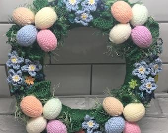 Easter wreath, knitted wreath,pastel eggs,Easter gift  spring, eggs, flowers, keepsake gift, new home,