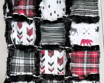 Black and Red Plaid Minky Quilt