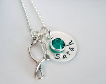 Custom Nurse Jewelry Gift for RN Necklace Nurse Graduation Personalized Name Jewelry Hand Stamped Sterling Silver