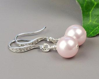 Erröten rosa Perle Ohrringe - Brautjungfer Ohrringe Swarovski - Perle Braut Ohrringe - rosa Perle Tropfenohrringe - Brautjungfer Schmuck Perle