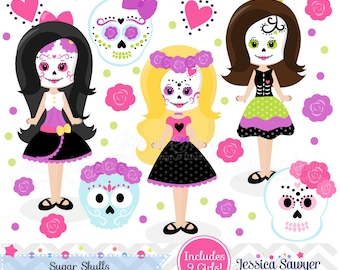 INSTANT DOWNLOAD, Day of the Dead clip art, sugar skull clipart for personal and commercial use